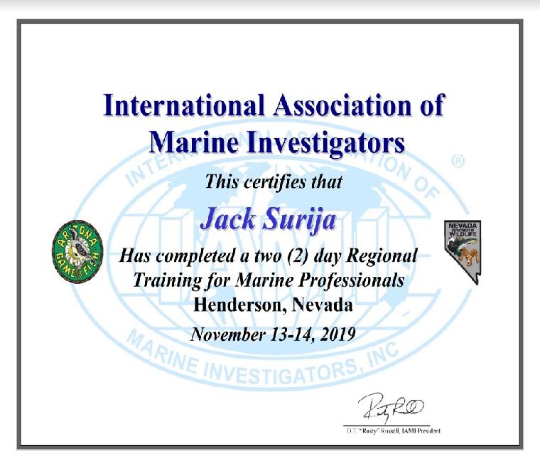 Đek Šurija dobio je od IAMI-ja certifikat za pomorske stručnjake - istražitelje